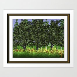 Trees Shading Flowers Art Print