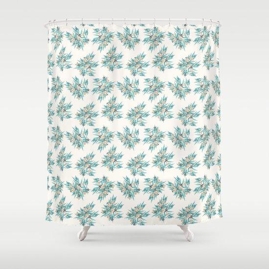 Gumnuts Blue Green Terracotta On Cream Shower Curtain By