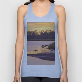 Heron on the River at Sunset Unisex Tank Top