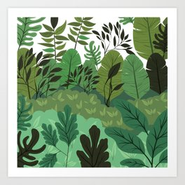 Botanical Leaves Forest Floor Tropical Jungle Print Art Print