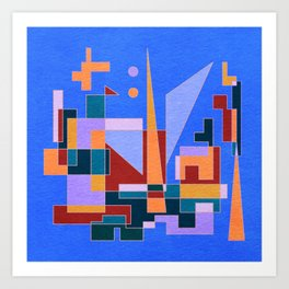 Modern City view in abstract geometric shapes Art Print