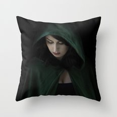Hooded Woman Throw Pillow