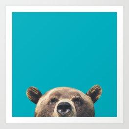 Bear - Blue Art Print