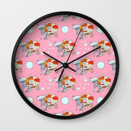 Lion Head Goldfish Pink Wall Clock
