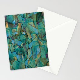 Fragments In blue - Abstract, fragmented art in blue Stationery Cards