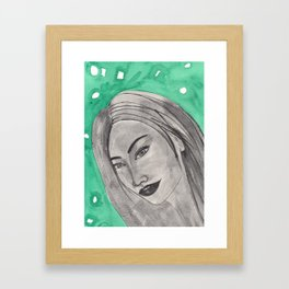 girl infront of a gre bacground Framed Art Print