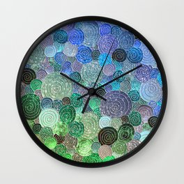 Abstract blue & green glamour glitter circles and polka dots for ladies Wall Clock