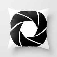 aperture Throw Pillows featuring Aperture by PlayWithFireDieInIce