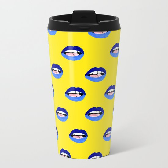 Blue Lips Metal Travel Mug