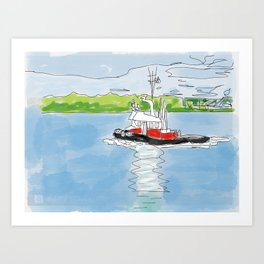 Fraser River Tugboat Art Print