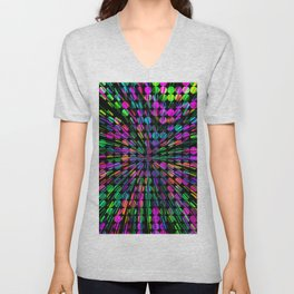 geometric circle abstract pattern in pink blue green black Unisex V-Neck