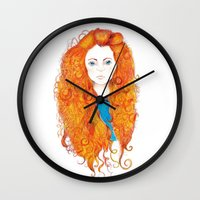 be brave Wall Clocks featuring Brave by FeliciaR