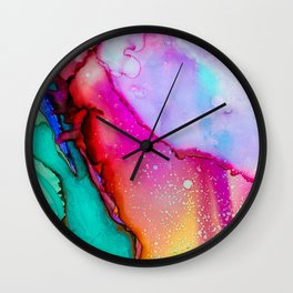 Colorful Watercolor Paint Art Colors Painting Abstract Modern Messy Wall Clock