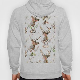watercolor pattern deer head Hoody