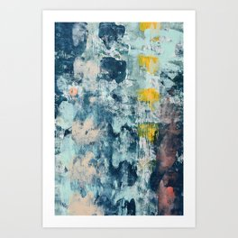 017.2: a bright contemporary abstract design in blues pinks and yellow by Alyssa Hamilton Art  Art Print