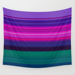 Vibrant Purple Pink and Green Stripes Wall Tapestry