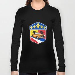 Vintage Cabriolet Fleur-de-Lis Crest Retro Long Sleeve T-shirt