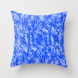 Fascinating smudges of diagonal delicate colors with blue. Throw Pillow
