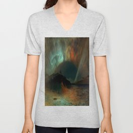 Aurora Borealis by Frederic Edwin Church Unisex V-Neck