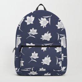 Denim Blue Botanical Floral Backpack