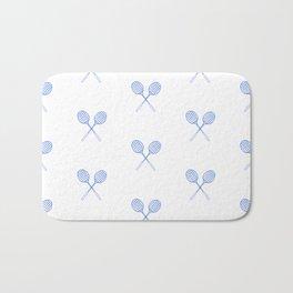 Blue Badminton Racket Pattern in Criss Cross Bath Mat