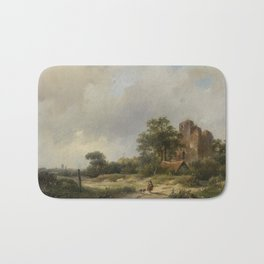 Andreas Schelfhout - landscape in ruin Bath Mat