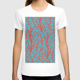 Turquoise and Red Leaves Pattern T-shirt