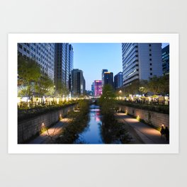 Stream at night Art Print