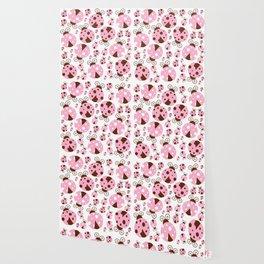 Ladybugs (Ladybirds, Lady Beetles) - Pink Brown Wallpaper
