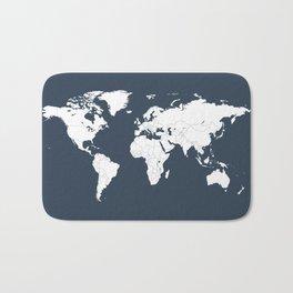Minimalist World Map in Navy Blue Bath Mat