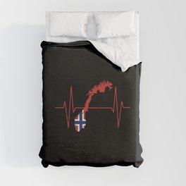 Norwegian Flag Heartbeat Duvet Cover
