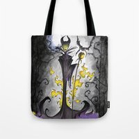 maleficent Tote Bags featuring Maleficent  by Jena Sinclair