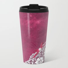 Claire´s treasure - White beautiful lace and pearl on pink grunge backround Metal Travel Mug