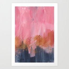 Abstract acrylic || Pink, black & gold Art Print