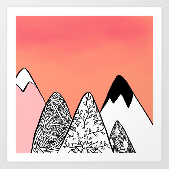 Modern abstract pink coral watercolor sky black white geometric floral mountains illustration Art Print