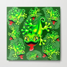 Gecko Lizard Baby Cartoon Metal Print