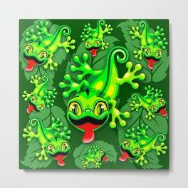 Gecko Lizard Baby Cartoon Metal Print