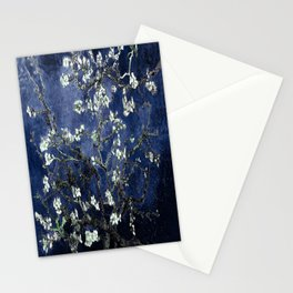 Vincent Van Gogh Almond Blossoms Dark Blue Stationery Cards