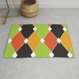 Orange, green and black jester diamonds Rug