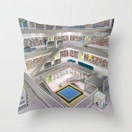 Stuttgart City LIbrary: Bibliothek Stuttgart Throw Pillow