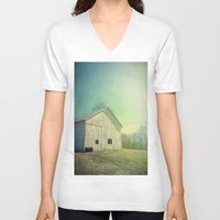 country V-neck T-shirts featuring Country Morning by Olivia Joy StClaire