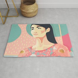 Spring model with bold colors and flower pattern Rug