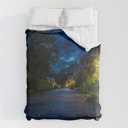 England Castle Combe Roads Street Night Houses Cities night time Building Comforters