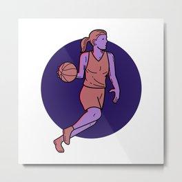 Woman Basketball Player Dribbling Mono Line Art Metal Print