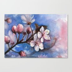 Cherry Blossoms Watercolor Spring Flowers Canvas Print