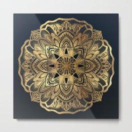 Chic Modern Navy Blue Gold Mandala Metal Print