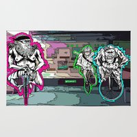 bikes Area & Throw Rugs featuring Monkey Bikes by Suzko