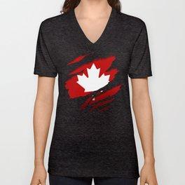 Canadian Red Flag Pride Unisex V-Neck