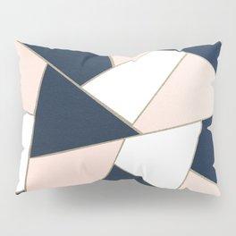 Navy Blue Blush White Gold Geometric Glam #1 #geo #decor #art #society6 Pillow Sham