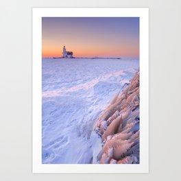 Lighthouse of Marken, The Netherlands at sunrise in winter Art Print